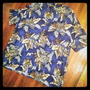 Island Shores Hawaiian Button Up Shirt Blue 3XL